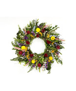 Fern and Flower. Dried Cockscomb & Strawflower floral spring wreath 22 inch - $62.00