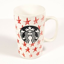 Starbucks White Red Stars 16oz Latte Coffee Mug Tea Cup Christmas Mermai... - $29.99