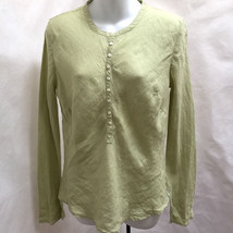 Banana Republic M Top Green Linen Henley Flared Slit Long Sleeve Peasant... - $19.58