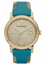 Burberry BU9018 Haymarket Turquoise Swiss Made Leather Womens Watch - $359.10