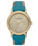 Burberry BU9018 Haymarket Turquoise Swiss Made Leather Womens Watch - $269.33