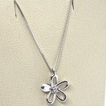 ORSINI 18K WHITE GOLD NECKLACE FLOWER DAISY PENDANT WITH DIAMOND, VENETIAN CHAIN image 1