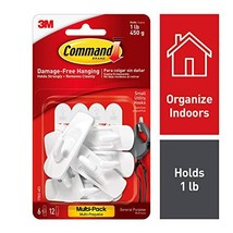 Command 1 lb Capacity Utility Hooks, 6 hooks, 12 strips, Indoor Use 17002-6ES