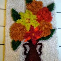 Vintage Completed Flower Vase MCM Latch Hook Rug Wall Art 60s Shag Psych... - $74.25