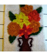 Vintage Completed Flower Vase MCM Latch Hook Rug Wall Art 60s Shag Psych... - $74.25