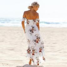 Boho Off Shoulder Floral Summer Summer Maxi Sundress image 2