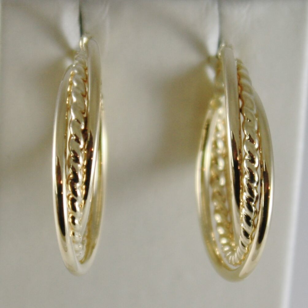 18K YELLOW GOLD TWISTED EARRINGS WORKED & BRIGHT CIRCLE HOOP 23 MM MADE IN ITALY