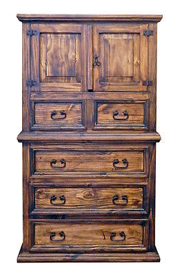 Rustic Medium Wax Mansion Chest of Drawers Solid Wood Western Style Lodge Cabin