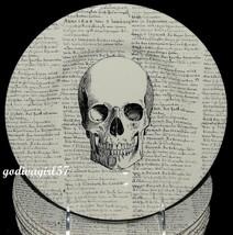 Royal Stafford * 8 SALAD PLATES * Halloween Skull & Script, England, NEW - $74.99