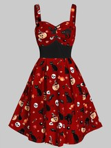 Sweetheart Neck Cat Pumpkin Print Fit And Flare(RED WINE M) - $17.39