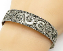 925 Sterling Silver - Vintage Spiral Twist Patterned Bangle Bracelet - B... - $77.16