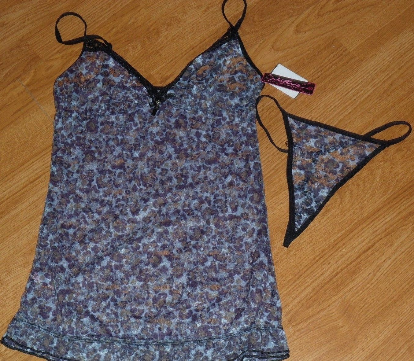 NATIVE INTIMATES TEDDIE SIZE M PURPLE FLORAL LACE SHEER THONG NWT - $16.99