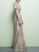 GOLD Maxi Sequin Dress Cap Sleeve High Waist Retro Style Maxi Long Sequin Dress image 5