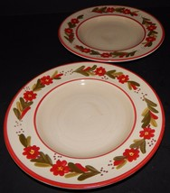2 Ballard Designs Country Flower Red Rimmed Salad Plates Hand Painted St... - $29.69