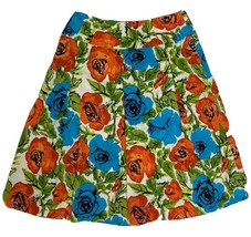 Talbots womens skirt multicolor flowers cotton to knee size 4 - $11.32