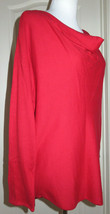 Michael Kors Macintosh Red Draped Neck Sweater Long Sleeve Zip Sz Large ... - $33.66