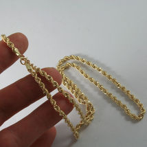 18K YELLOW GOLD CHAIN NECKLACE 3.5 MM BRAID BIG ROPE LINK 15.75, MADE IN ITALY image 5