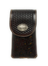 Western Cowboy Tooled Floral Leather Rooster Concho Belt Loop Cell Phone... - $18.99