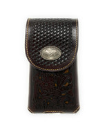 Western Cowboy Tooled Floral Leather Rooster Concho Belt Loop Cell Phone case - $18.99
