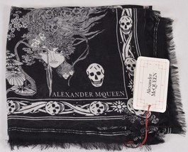 New Alexander McQueen $495 528571 OPHELIA Multi Skull Modal Wool Scarf - $173.25