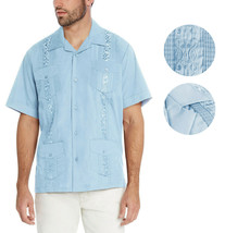 Men's Light Blue Beach Wedding Casual Short Sleeve Guayabera Dress Shirt - 2XL image 1