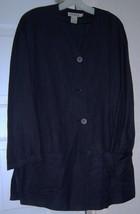 ANN TAYLOR Women's Linen Jacket Coat 1990'S Black Size S/M Vintage - $27.95