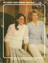 Bouquet Ladies Floss Mohair Sweaters Pattern Leaflet 436 Knit Pullover C... - $9.99