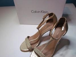 NIB Calvin Klein Beige Natural Gold T Strap Heel Snake Print 085M - $37.04