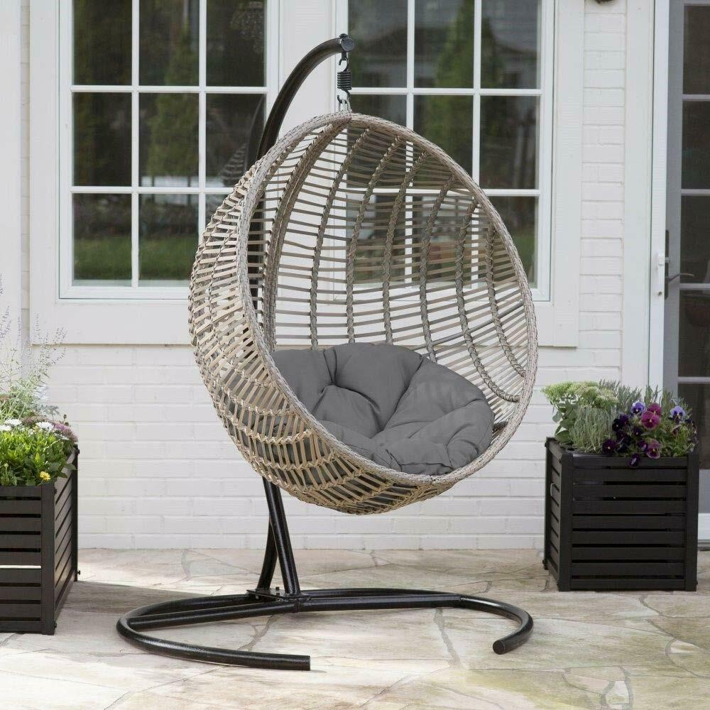 Hanging Chair Set Grey Wicker Egg Wicker w/Cushion Patio Lounge Chair Boho Chic