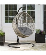 Hanging Chair Set Grey Wicker Egg Wicker w/Cushion Patio Lounge Chair Bo... - $460.15