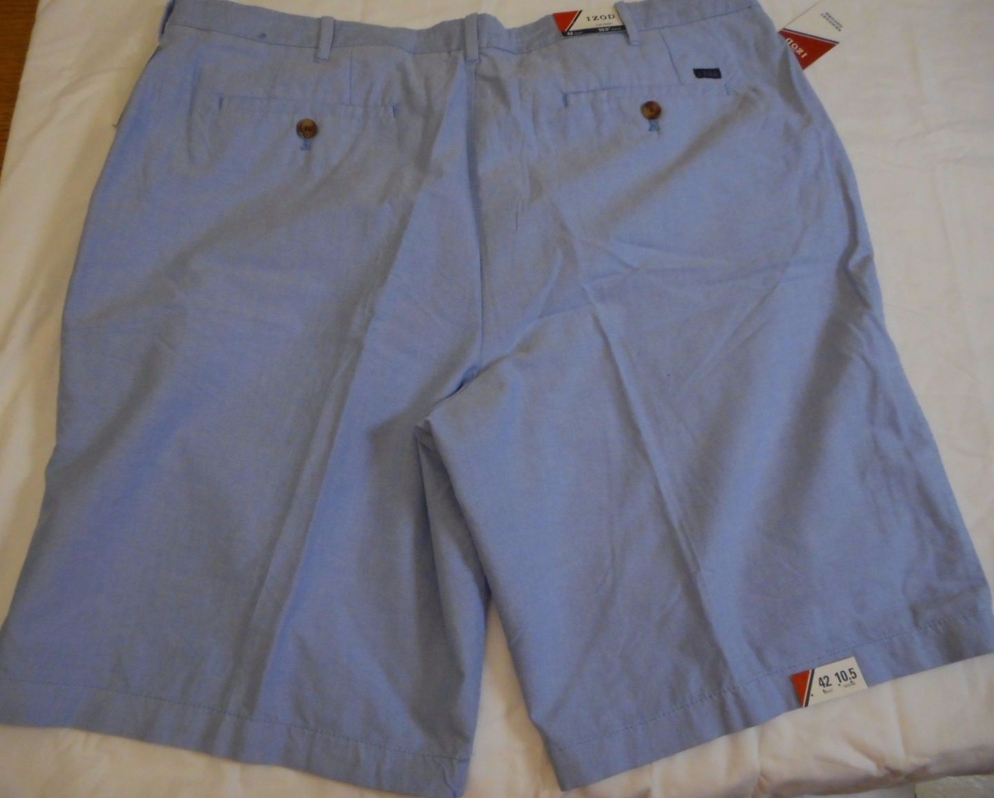 IZOD Men's Flat Front Shorts Newport Oxford Blue Revival Size 42W NEW