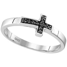 Sterling Silver Womens Round Black Color Enhanced Diamond Cross Band Rin... - $113.94