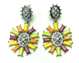 Vintage Colorful Acrylic Retro Pinwheel Rhinestone Dangle Drop Pierced E... - $15.84