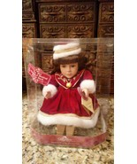 Gift Gallery CHRISTMAS Animated Wind Up Musical Doll Fine Bisque Porcela... - $19.79