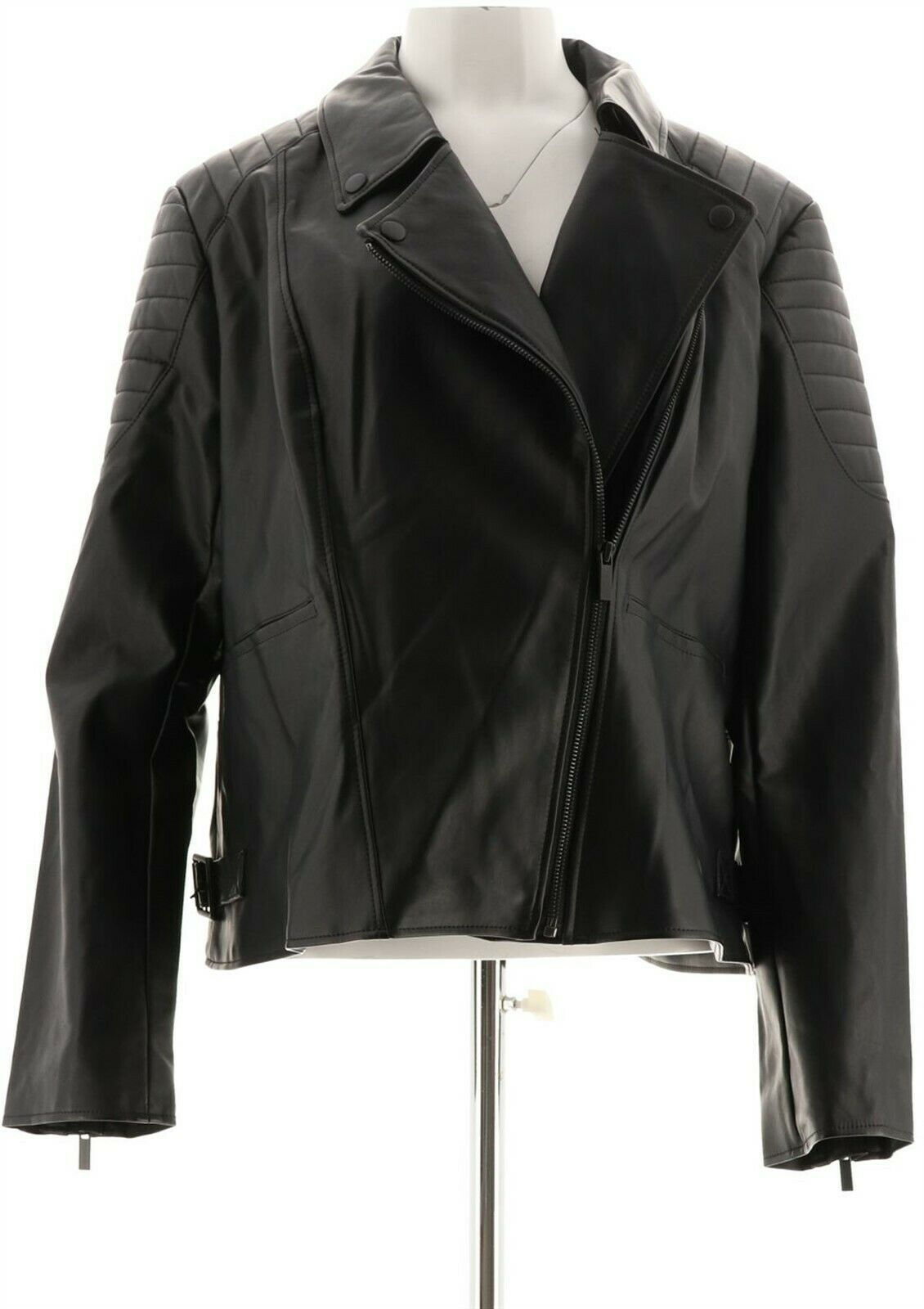 Primary image for Lisa Rinna Collection Faux Leather Motorcycle Jacket Black 2X NEW A285571