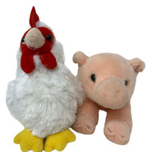 """Pair of Aurora Plush White Rooster and Pink Piglet 7"""" Stuffed Animal Toys  - $14.50"""