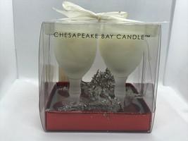 "Chesapeake Bay Candle Co 4"" Wine Glass Set 1oz each Set of 4 Christmas Vanilla - $9.89"