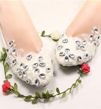 Women's Ivory bridal ballet flats,Lace Wedding Shoes,White bridal shoes flats  - $39.99