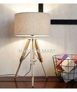 NAUTICALMART CLASSICAL DESIGNER NATURAL WOOD TRIPOD TABLE LAMP - $147.51