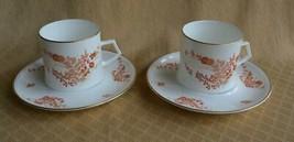 2 Sets Mikasa bone china EASTWIND Cup & Saucer A4-181 orange flowers tea coffee - $9.65