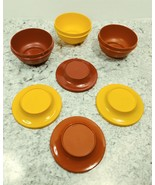 VintageTupperware Bowls and Lid Lot 3 Bowls 4 Lids Yellow and Orange 143... - $24.74