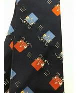 Vintage CHRISTIAN DIOR Men's Tie Blue Orange IT System Design Rich's WPL490 - $12.99