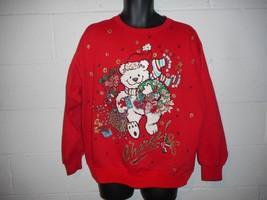 Vintage X-Mas Glitter Teddy Bear Ugly Christmas Sweatshirt  XL - $19.99