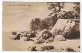 Shore Front Beach Grove Beach Connecticut 1920s postcard - $5.94
