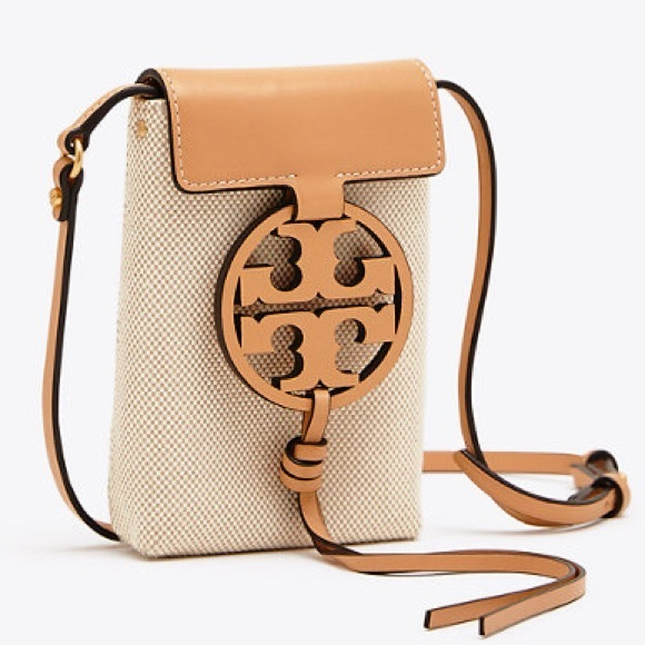 Authentic Tory Burch MILLER PHONE CROSS-BODY Leather/Canvas Brown