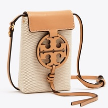 Authentic Tory Burch MILLER PHONE CROSS-BODY Leather/Canvas Brown - $185.00