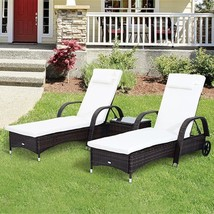 Outdoor Double Sun Lounger Set with Cushion Table Pool Garden Furniture - $354.84