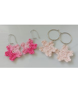 Crochet Sakura Earrings / Handmade Sakura Earrings / Crochet Flower Earr... - $10.00