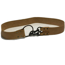 """2"""" wide tan leather belt ring clasp 2 hooks 41""""L  - $20.57"""