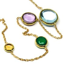 18K YELLOW GOLD NECKLACE, CABOCHON BLUE TOPAZ, AMETHYST, CITRINE, GREEN AGATE image 3